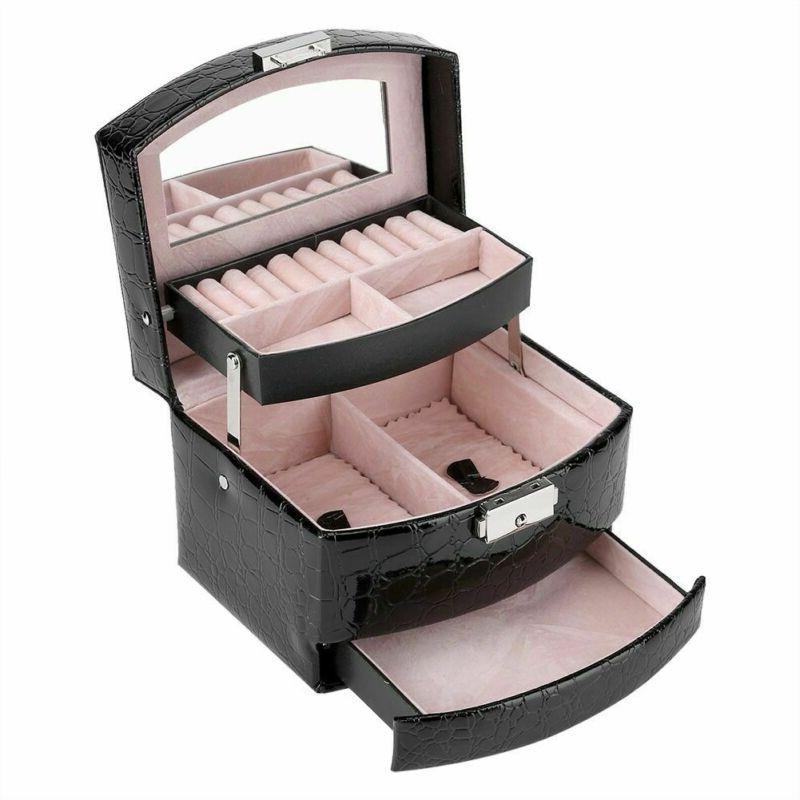 black jewelry box leather case jewelry storage