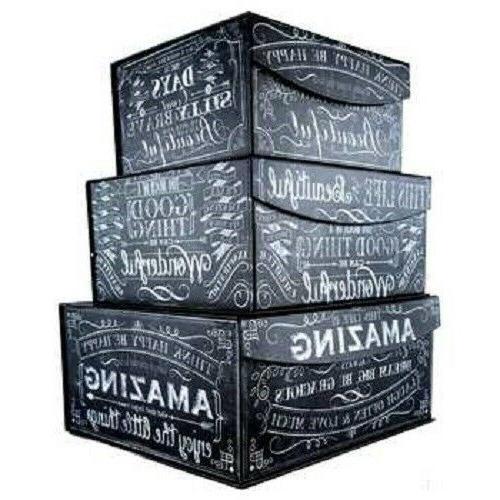 Black White Chalk Art Storage Box Set Inspirational Phrase C