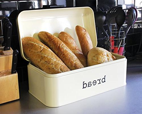 Bread Counter Bread Bin, Storage Container Pastries, and - Design, Cream 16.75 x 9 6.5 inches