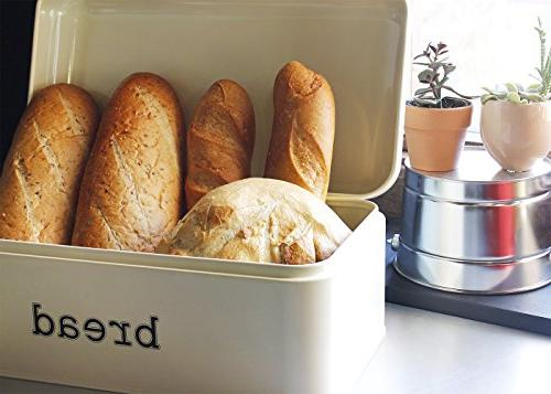 Bread Counter - Stainless Bread Bin, Storage Container - Retro Cream