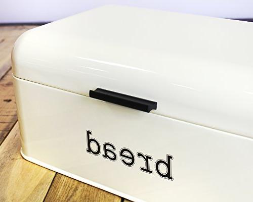 Bread for Counter Stainless Bread Bin, Dry Food Storage Container for Pastries, More - Retro Vintage Design, Cream 9 x 6.5 inches