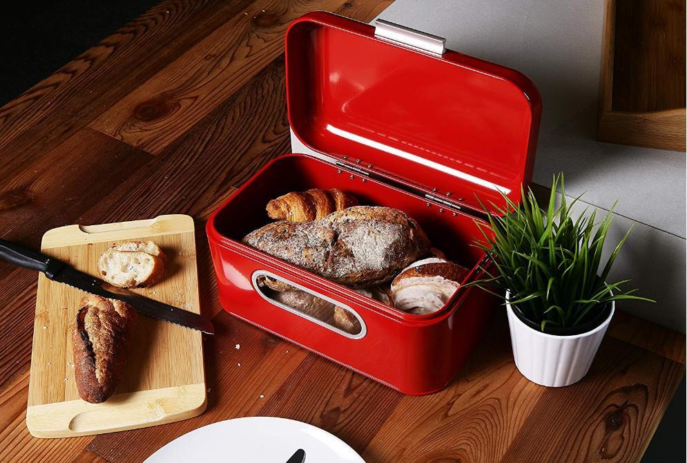 bread box red tin large bin kitchen