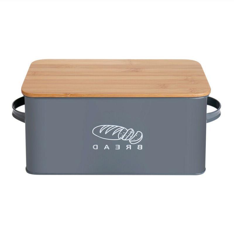 Bread Box Retro Metal Bin Kitchen Container Cake Keeper Food