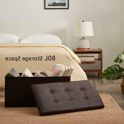 brown folding cuboid ottoman bench pouffe storage