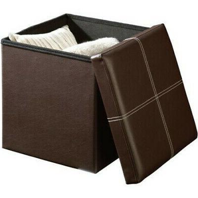 Brown Storage Ottoman Bench Box Lounge Seat Foot New