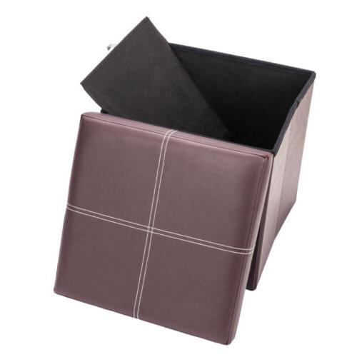 Brown Folding Storage Ottoman Box Seat Foot New