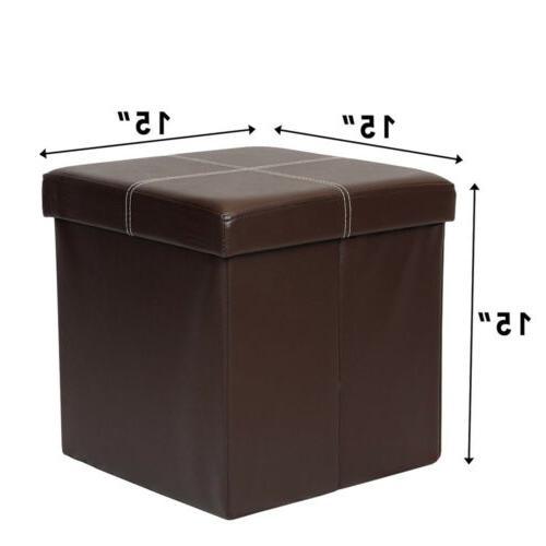 Brown Folding Ottoman Seat Stool New