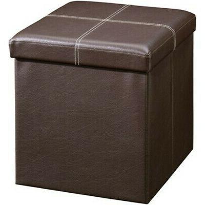 brown leather folding storage ottoman bench box