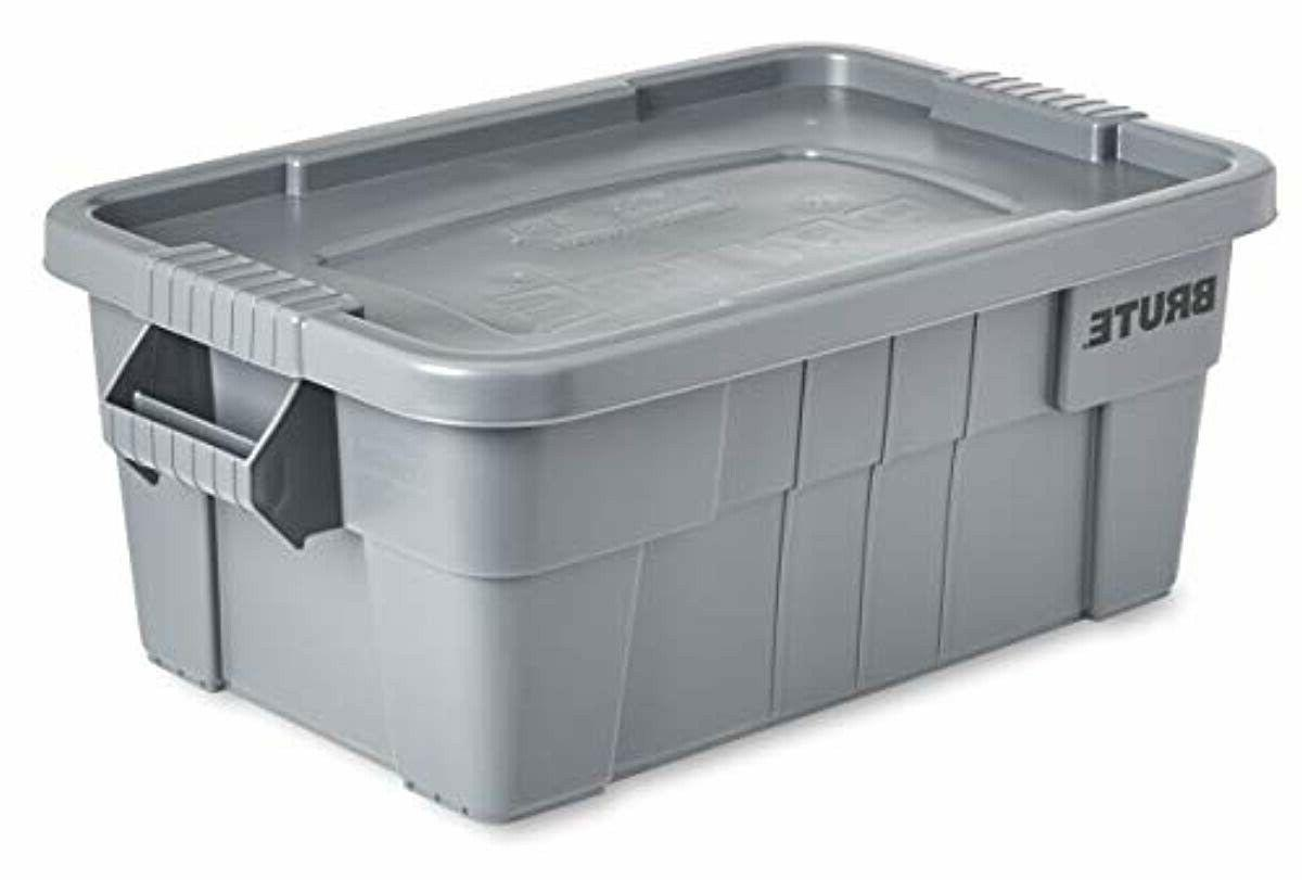 Rubbermaid Commercial Tote Storage Container with Lid, 14-Gallon,