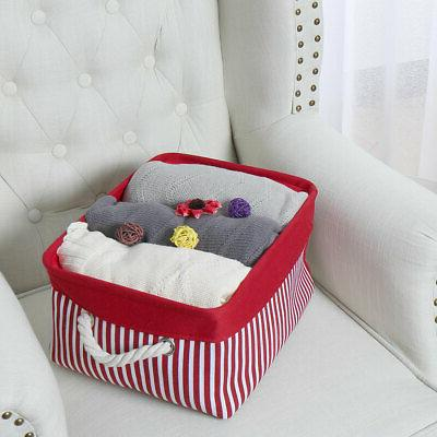 Canvas Fabric Baskets Bins Collapsible Organizer for Shelves
