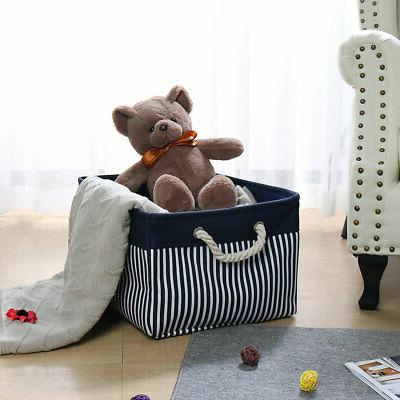 Canvas Bins Collapsible Toy Boxes Organizer for Shelves