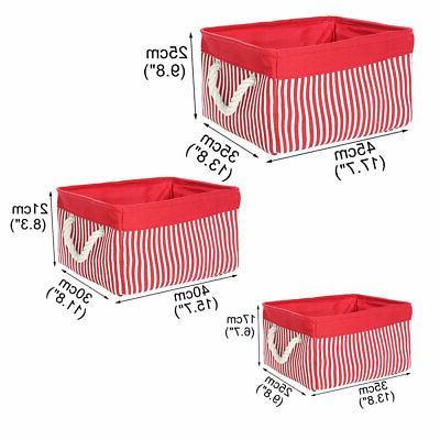 Canvas Fabric Storage Baskets Bins Boxes Organizer for Shelves