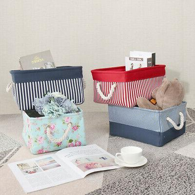 canvas fabric storage baskets bins collapsible toy