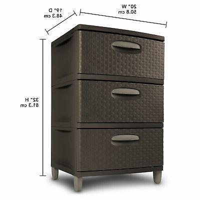 3 Plastic Cart Storage Dresser Tower Box