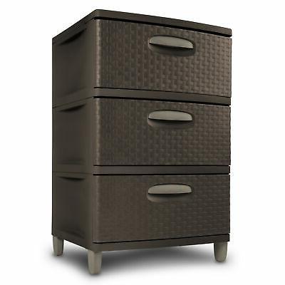 3 Drawer Plastic Cart Storage Dresser Organizer Tower Cabinet