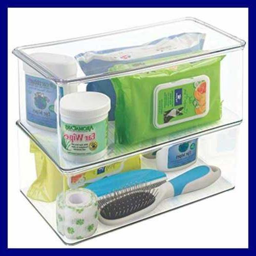 Interdesign Clarity Plastic Storage Box W Organizer Container Vanity