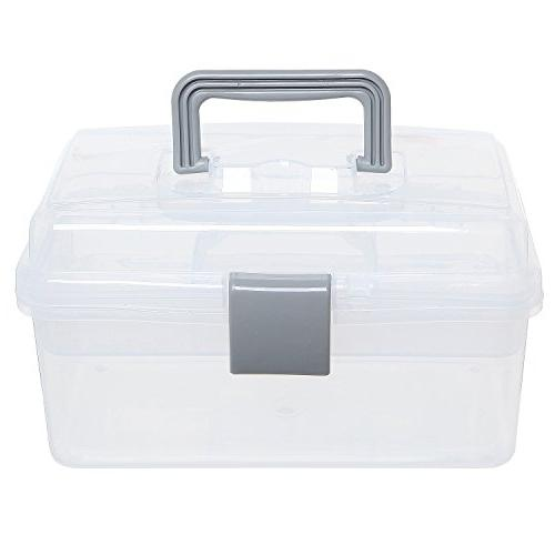 MyGift Clear Gray First Aid, Arts Craft Supply Case/Storage Container Box w/Removable Tray