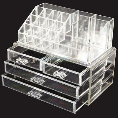 Clear Cosmetic Organizer 4 Drawer Makeup Case Holder