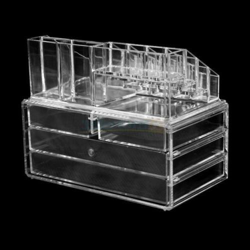 Clear Jewelry Cosmetic 4 Drawer Drawer Case Holder Box