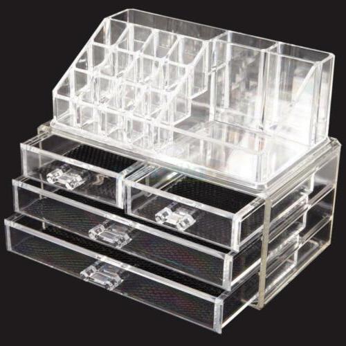 Clear Jewelry 4 Drawer Drawer Case Storage