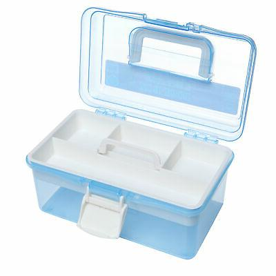 Clear Blue Plastic Multipurpose Storage Box w/Removable