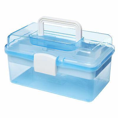 clear light blue plastic multipurpose handled storage