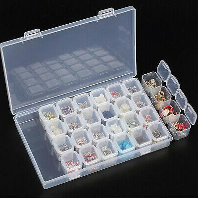 Clear Plastic Slots Adjustable Jewelry Case Craft Organizer