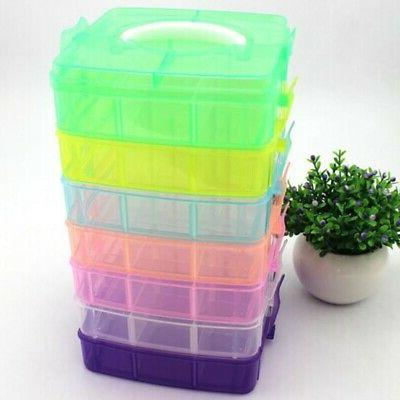 Clear Storage Box Container Organizer 3-Layers Craft