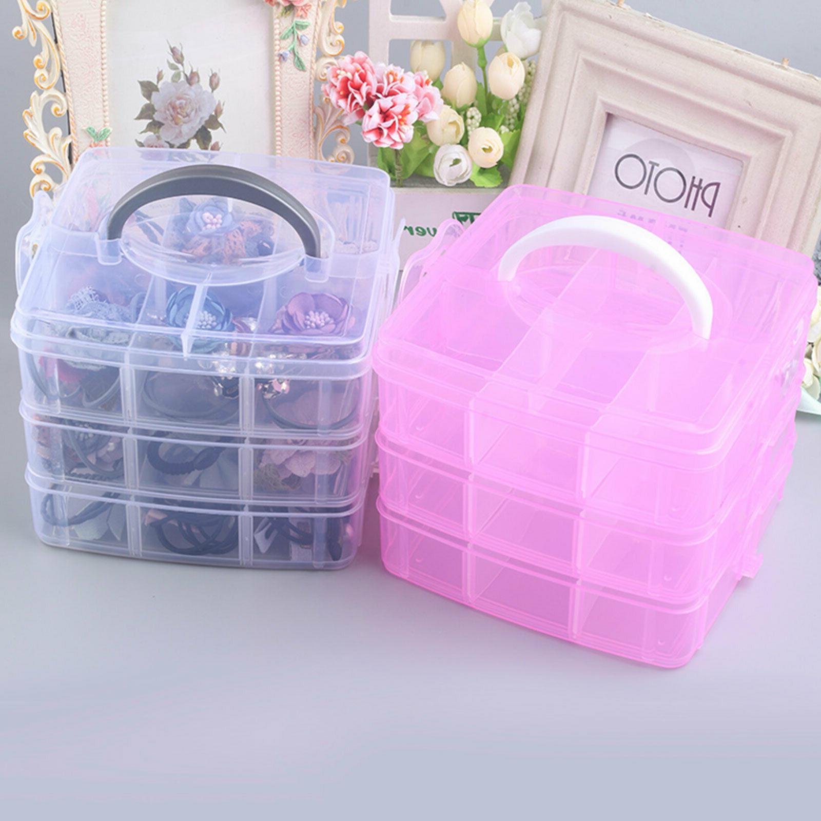 Blue Plastic Jewelry Beads Storage Box Crafts Organizer Case