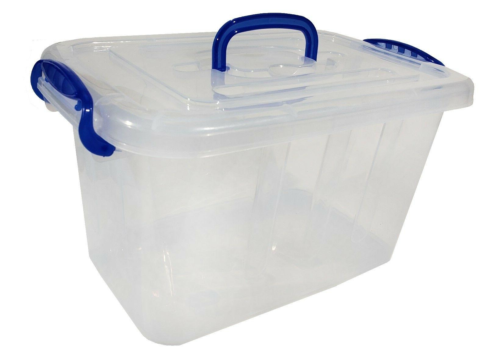 clear plastic storage bin locking lid
