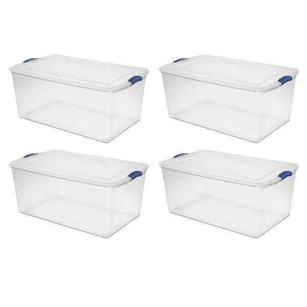 clear storage container bin box with latch