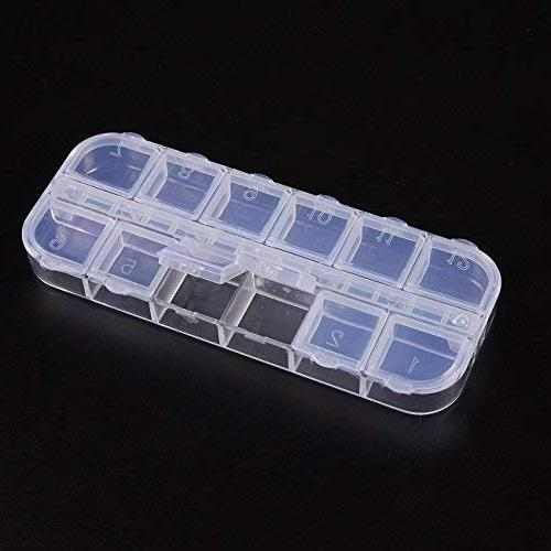 Clear Box - 10-Pack Plastic Bead Container, Earrings Storage Organizer, Jewelry Storage Compartments Each, 2.25 x 5.25