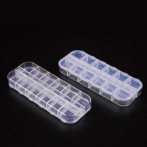 Clear - 10-Pack Plastic Container, Earrings Jewelry Boxes, Compartments 2.25 x