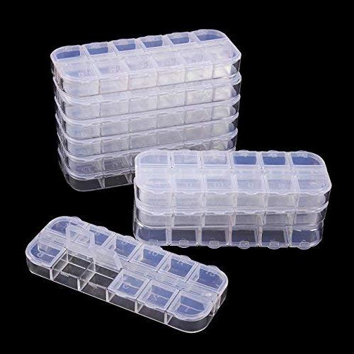 Clear Box 10-Pack Bead Container, Earrings Storage Jewelry Storage Compartments 2.25 x 5.25