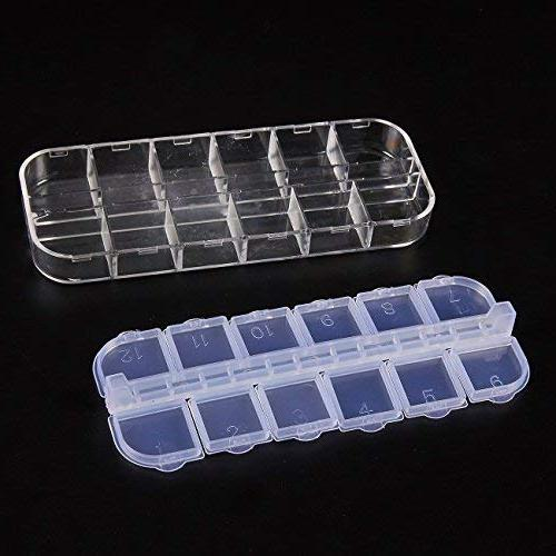 Clear Box 10-Pack Plastic Bead Container, Organizer, Jewelry Boxes, Compartments Each, 2.25 x Inches