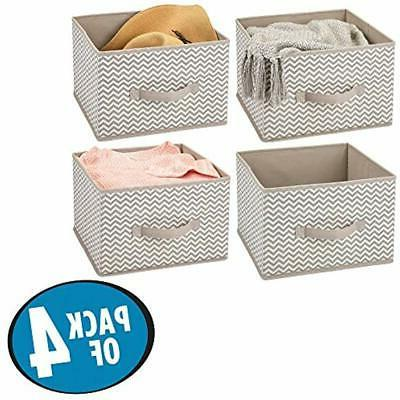 MDesign Closet Fabric Storage Organizer Holder Cube Bin -