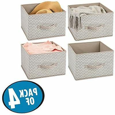 MDesign Closet Fabric Storage Organizer Holder Cube Bin -