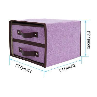Collapsible Fabric 2-Drawer Cube Bin Chest for