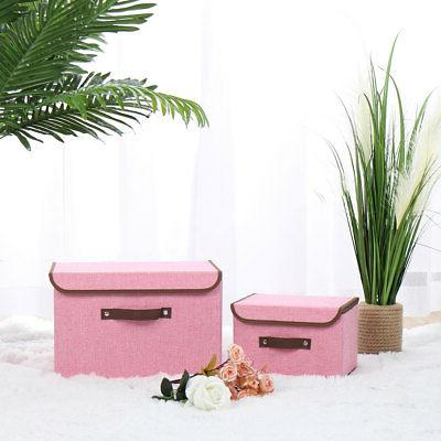 Collapsible Fabric Storage Box Cube with Lid Handle