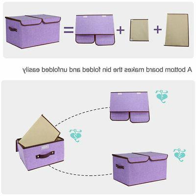 Collapsible Large Storage Box Bin Basket Lids Divider