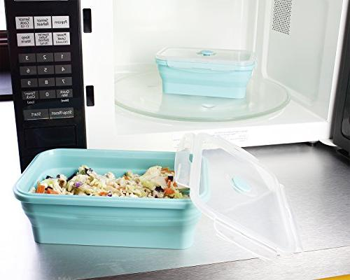 Juvale Collapsible Containers Silicone Bento Boxes, Insulated Food Containers Reusable Containers, Teal