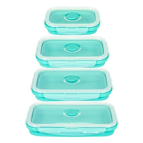 Juvale Containers - 4 Silicone Lunch Insulated Reusable Teal