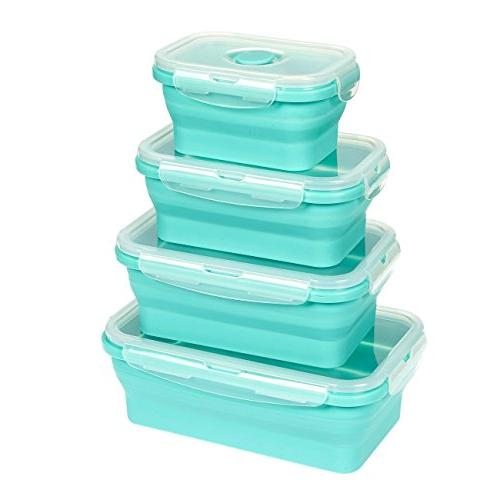Juvale Containers - Silicone Bento Lunch Boxes, Insulated Food Reusable Teal