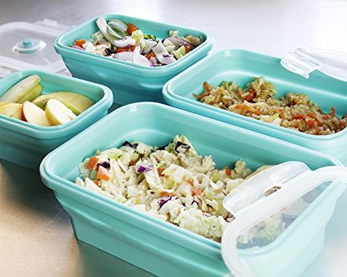 Juvale Collapsible Food Storage Containers Pack Silicone Bento Lunch Insulated Reusable Lunch Teal