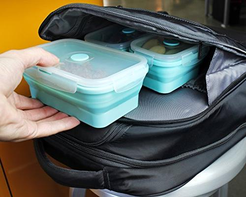 Juvale Containers - Silicone Lunch Insulated Food Containers - Reusable Containers, Teal