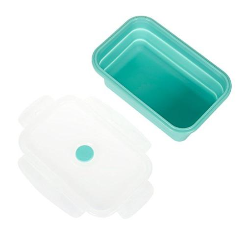 Juvale Food Storage Containers Silicone Insulated Food Containers Reusable Lunch Containers, Teal