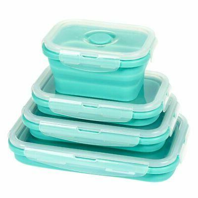 Juvale Collapsible Containers - Silicone Boxes, Insulated Food Reusable BPA-Free Lunch Teal