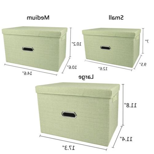 Collapsible Storage Bin with Lid Fabric Cube Containers