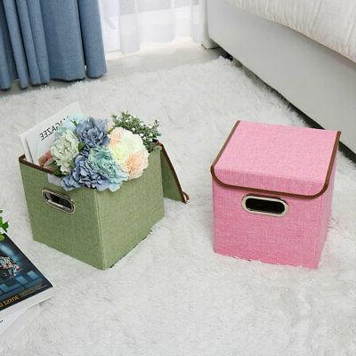 Collapsible Storage Linen Fabric Cube Organizer with Lid Handles