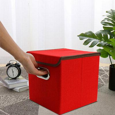 Collapsible Fabric Cube Organizer with Lid Metal Handles